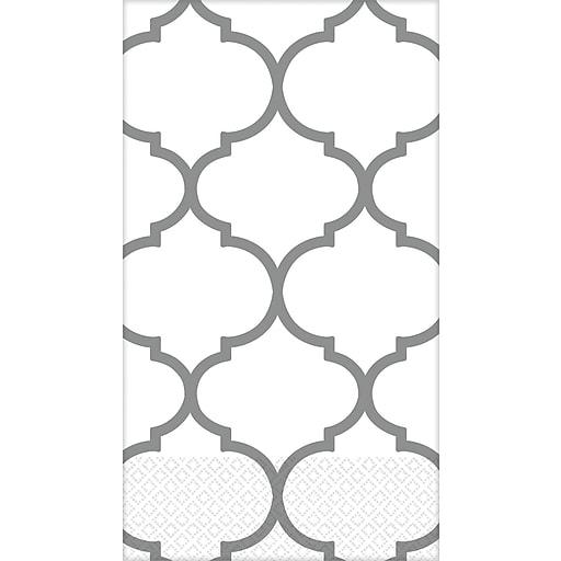 Amscan Premium Lattice Guest Towels, 7.75'' x 4.5'', Silver, 3/Pack, 16 Per Pack (530065)