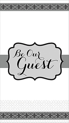 """Amscan Premium Be Our Guest Guest Towels, 7.75"""" x 4.5"""", Black/White, 3/Pack, 16 Per Pack (530070)"""