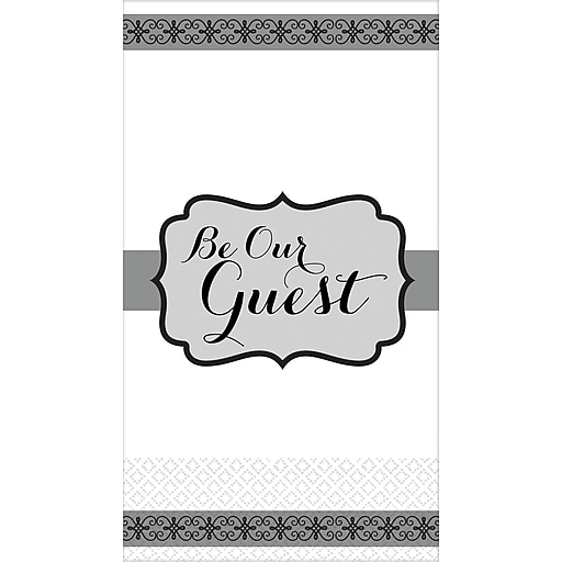 "Amscan Premium Be Our Guest Guest Towels, 7.75"" x 4.5"", Black/White, 3/Pack, 16 Per Pack (530070)"