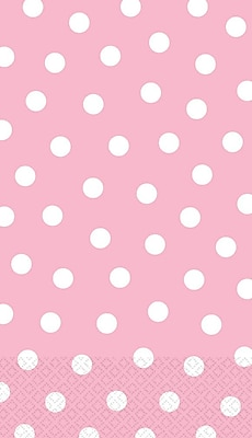 Amscan Polka Dot Guest Towels, 7.75'' x 4.5'', Pink/White, 4/Pack, 16 Per Pack (538179)