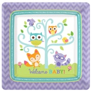 """Amscan 7'' x 7"""" Woodland Welcome Square Paper Plates, 8/Pack, 8 Per Pack (541452)"""