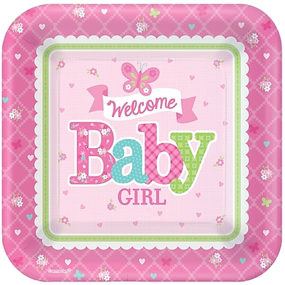 Amscan 7'' x 7'' Welcome Little One Baby Shower Girl Square Paper Plates, 8/Pack, 8 Per Pack (541458) 1970352