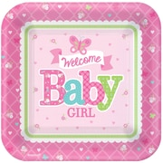 Amscan 7'' x 7'' Welcome Little One Baby Shower Girl Square Paper Plates, 8/Pack, 8 Per Pack (541458)