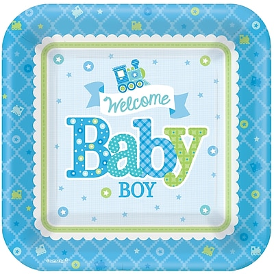 Amscan 7'' x 7'' Welcome Little One Baby Shower Boy Square Paper Plates, 8/Pack, 8 Per Pack (541461) 1970351