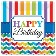 Amscan Bright Birthday 7'' x 7'' Square Paper Plates, 8/Pack, 8 Per Pack (541465)
