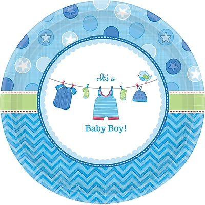 //.staples-3p.com/s7/is/  sc 1 st  Staples & Amscan 7u0027u0027 Shower With Love Boy Round Paper Plates 8/Pack 8 Per ...