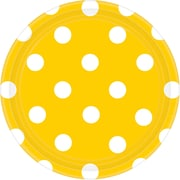 Amscan 7''W Round, Sunshine Yellow Polka Dots Paper Plates, 8/Pack, 8 Per Pack (541537.09)
