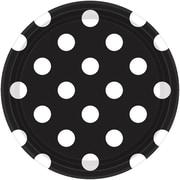 Amscan Polka Dots 7'' Jet Black Round Paper Plates, 8/Pack, 8 Per Pack (541537.1)