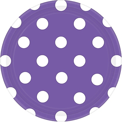 Amscan 7'' New Purple Polka Dots Round Paper Plates, 8/Pack, 8 Per Pack (541537.106)