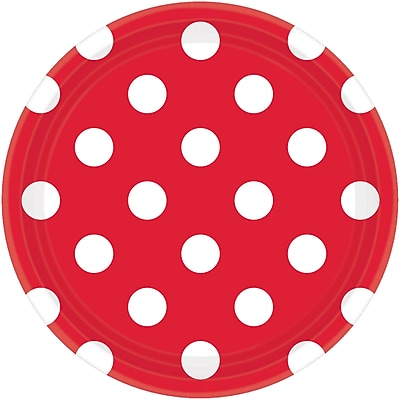 Amscan 7'' Apple Red Polka Dots Round Paper Plates, 8/Pack, 8 Per Pack (541537.4)