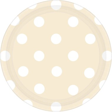 Amscan 7'' Vanilla Cream Polka Dots Round Paper Plates, 8/Pack, 8 Per Pack (541537.57)