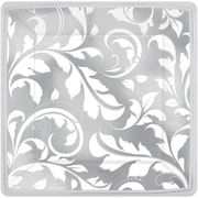 Amscan 7'' x 7'' Silver Elegant Scroll 25th Anniversary Square Metallic Plates, 8/Pack, 8 Per Pack (543850)