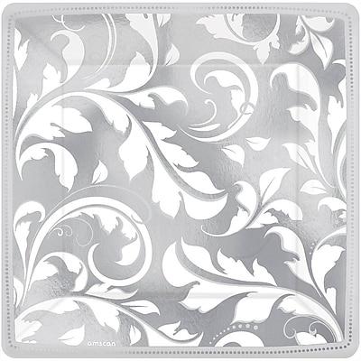 Amscan 7'' x 7'' Silver Elegant Scroll 25th Anniversary Square Metallic Plates, 8/Pack, 8 Per Pack (543850)