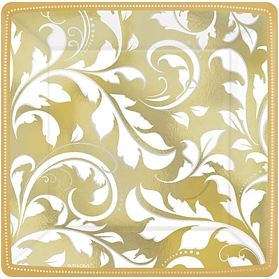 Amscan 50th Anniversary Elegant Scroll Square Metallic Plates 7''L x 7''W, Gold, 8/Pack, 8 Per Pack (543851)