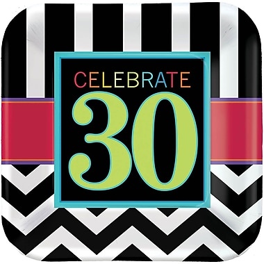 Amscan 30th Celebration 9'' x 9'' Square Paper Plates, 8/Pack, 8 Per Pack (551365)
