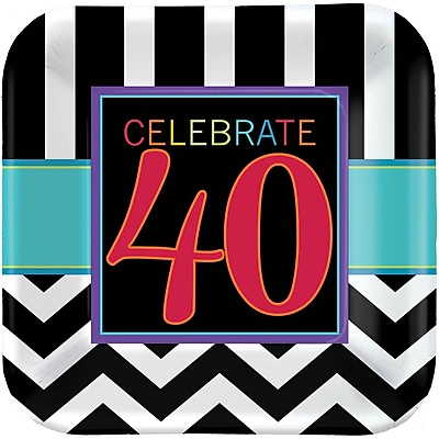 Amscan 9'' x 9'' 40th Celebration Square Paper Plates, 8/Pack, 8 Per Pack (551366)