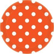Amscan Polka Dots 9'' Orange Peel Round Paper Plates, 8/Pack, 8 Per Pack (551537.05)