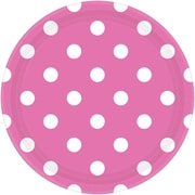 """Amscan Polka Dots 9"""" Bright Pink Round Paper Plates, 8/Pack, 8 Per Pack (551537.103)"""