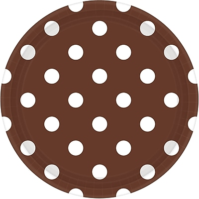 Amscan 9'' Chocolate Brown Polka Dots Round Paper Plates, 8/Pack, 8 Per Pack (551537.111)