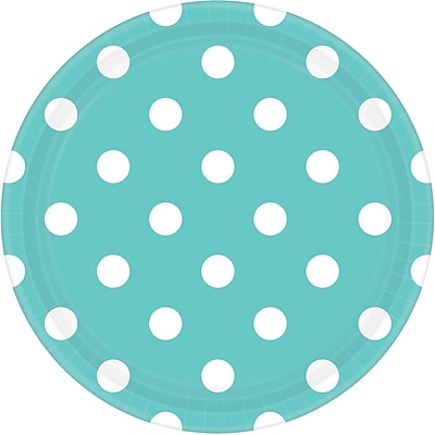 Amscan 9'' Robin's Egg Blue Polka Dots Round Paper Plates, 8/Pack, 8 Per Pack (551537.121)