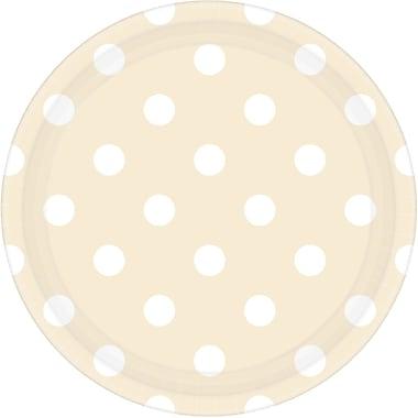 Amscan 9'' Vanilla Cream Polka Dots Round Paper Plates, 8/Pack, 8 Per Pack (551537.57)