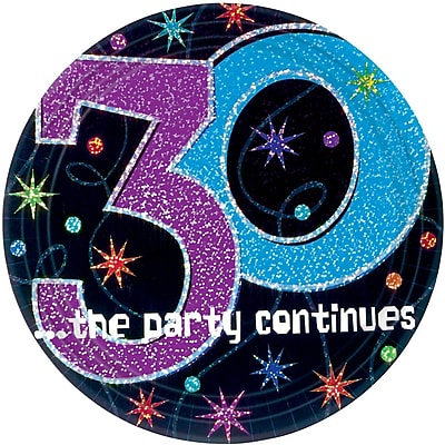 Amscan 9'' The Party Continues 30 Round Paper Plates, 8/Pack, 8 Per Pack (559794)