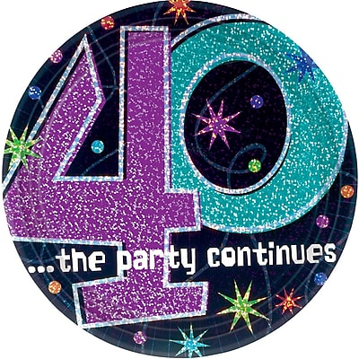 """""""""""Amscan 9""""""""""""""""W Round '40, The Party Continues' Paper Plates, 8/Pack, 8 Per Pack (559795)"""""""""""" 1970387"""