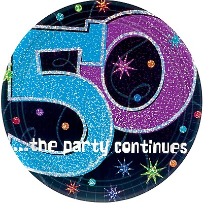 Amscan 9'' The Party Continues 50 Round Paper Plates, 8/Pack, 8 Per Pack (559796)