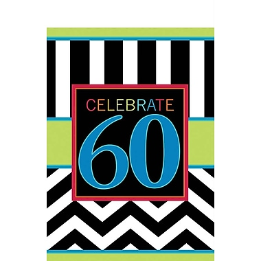 Amscan 102'' x 54'' 60th Celebration Tablecover, 4/Pack (571368)
