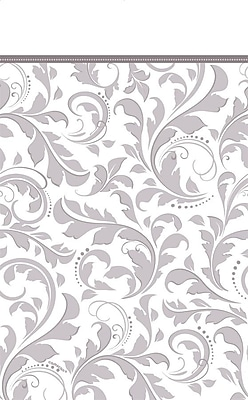 Amscan 102'' x 54'' Silver Elegant Scroll Tablecover, 4/Pack (573850)