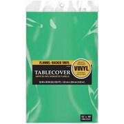 """Amscan Flannel-Backed Vinyl Table Cover, 52"""" x 90"""", Green, 3/Pack (579590.03)"""