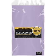 """Amscan Flannel-Backed Vinyl Table Cover, 52"""" x 90"""", Lavender, 3/Pack (579590.04)"""