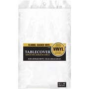 "Amscan 52"" x 90"" White Flannel-Backed Vinyl Table Cover, 3/Pack (579590.08)"