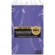 """Amscan 52"""" x 90"""" Purple Flannel-Backed Vinyl Table Cover, 3/Pack (579590.106)"""