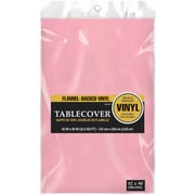 """Amscan Flannel-Backed Vinyl Table Cover, 52"""" x 90"""", Pink, 3/Pack (579590.109)"""