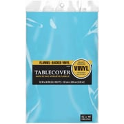 """Amscan 52"""" x 90"""" Caribbean Blue Flannel-Backed Vinyl Table Cover, 3/Pack (579590.54)"""