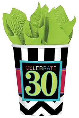 Amscan 30th Celebration 9oz Striped Paper Cup, 8/Pack, 8 Per Pack (581365) 1969738