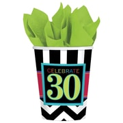 Amscan 30th Celebration 9oz Striped Paper Cup, 8/Pack, 8 Per Pack (581365)