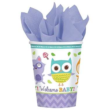 Amscan Woodland Welcome Baby Shower 9oz Multicolored Paper Cup, 8/Pack, 8 Per Pack (581452)