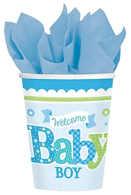 Amscan Woodland Welcome Baby Shower Boy 9oz Blue/White Paper Cup, 8/Cup, 8 Per Pack (581461) 1969732