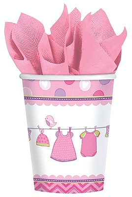 Amscan Shower With Love Girl 9oz Pink/White Paper Cups, 8/Pack, 8 Per Pack (581489)