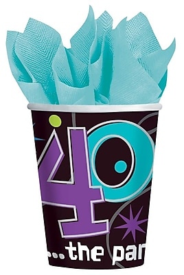 Amscan 9oz The Party Continues 40 Paper Cup, 8/Pack, 8 Per Pack (589795) 1969719