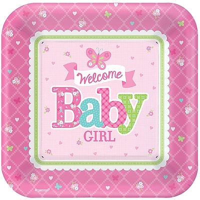 """""Amscan 10""""""""L x 10""""""""W 'Welcome Little One' Girl Baby Shower Square Paper Plates, 8/Pack, 8 Per Pack (591458)"""""" 1970382"