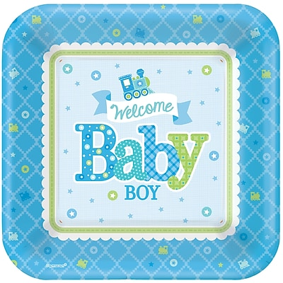 Amscan 10''' x 10'' Welcome Little One Baby Shower Boy Square Paper Plates, 8/Pack, 8 Per Pack (591461) 1970383