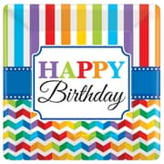Amscan 10'' x 10'' Bright Birthday, Square Paper Plates, 8/Pack, 8 Per Pack (591465)
