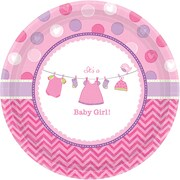 Amscan 10.5'' Shower With Love Girl Round Paper Plates Paper Plates, 8/Pack, 8 Per Pack (591489)