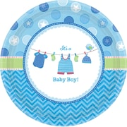 Amscan 10.5'' Shower With Love Boy Round Paper Plates, 8/Pack, 8 Per Pack (591491)