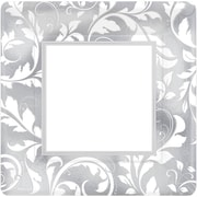 Amscan 25th Anniversary Elegant Scroll Metallic Plates 10''L x 10''W Square, Silver, 8/Pack, 8 Per Pack (593850)