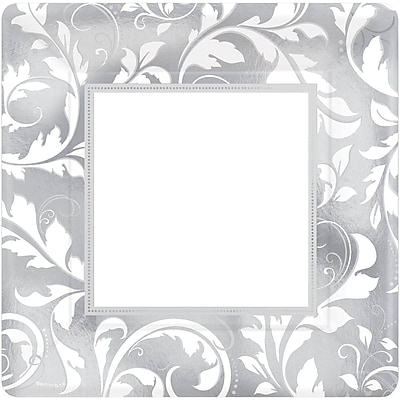 Amscan 25th Anniversary Elegant Scroll Metallic Plates 10''L x 10''W Square, Silver, 8/Pack, 8 Per Pack (593850)