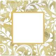 Amscan 10'' x 10'' Gold Elegant Scroll 50th Anniversary Square Metallic Plates, 8/Pack, 8 Per Pack (593851)